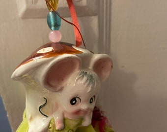 Sweet House Mouse Ornament with vintage bits