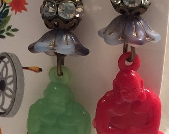 Sparkly Buddha vintage earrings - one red, one green - both fabulous