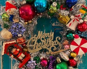 The shiniest most festive joyful holiday wreath!