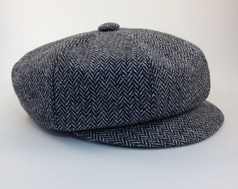 Newsboy Cap (Gatsby or Page Boy cap) made to measure Available in Herringbone Tweed with summer or winter lining