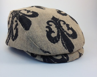 Flat Cap (Newsboy Golf Ivy Cabbie Driving Cheese-cutter) with fleur de lys with summer or winter lining