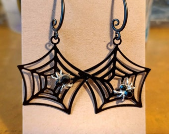 Halloween inspired black spider web hanging earrings, spooky Spider, All hallows Eve, Black Rhinestone Spider Earrings, Goth, Emo, Stylish.
