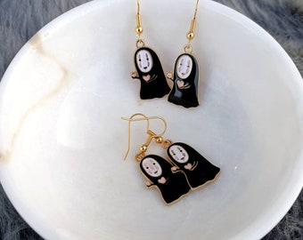 No Face gold plated earrings, Spirited Away earrings