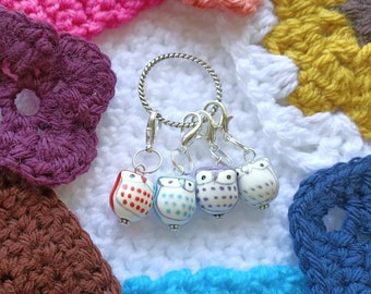 Ceramic Owl Stitch Markers, Porcelain Owl beads, Knitting / Crochet progress markers