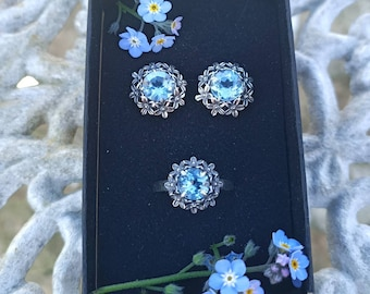 Forget-me-not design Sky Blue Topaz and Amethyst Earrings and Rings, Alzheimer's Forget me nots, Dementia awareness, stunning jewellery sets