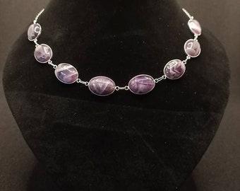 Chevron Amethyst Sterling Silver Choker Necklace, Eight unique stones