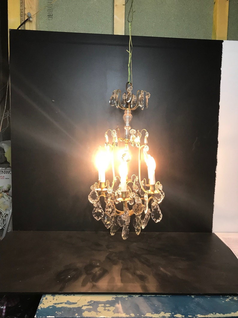French shabby chic brass Romantic with cristal  and glass drops and class central piece Large Vintage French chandelier with pendants