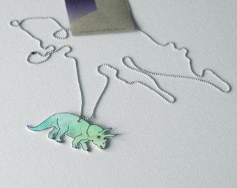 Triceratops dinosaur necklace