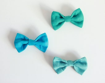 Shades of turquoise bows / brooch / bow tie / hair decoration