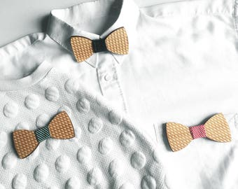 Magnetic wooden bow tie / brooch with geometric pattern