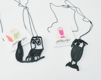 Custom children drawing necklace