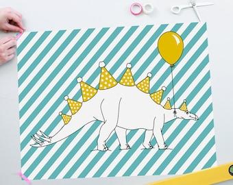 Let's party Stegosaurus Poster