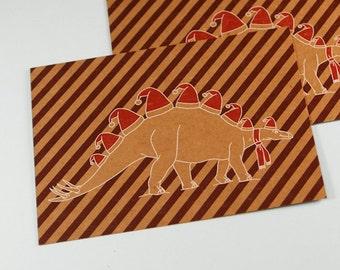 Stegosaurus dinosaur Christmas poster a3