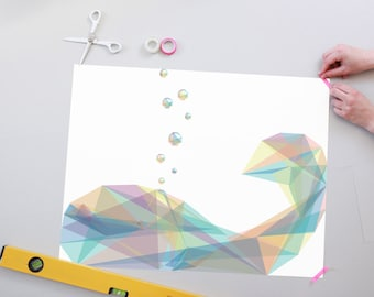 Geometric Bubbly Whale Poster