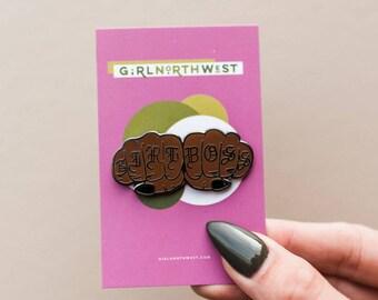 Girl Boss - Knuckle Tattoo - Enamel Pin