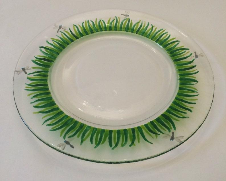 glass plate Glass Side Plate Dragonflies patio dishes handpainted plates handpainted dishes In the Garden