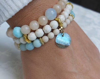 Bracelet Stack, Blue Bracelet, Gemstone Bracelet, Neutral Bracelet, Calming Bracelet, Diffuser Bracelet,  Crystal Bracelet, Healing Bracelet