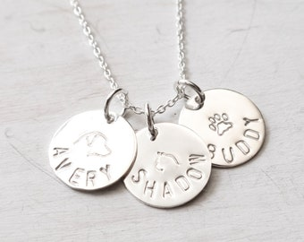 136c69e79894 Sterling Silver Pet Name Necklace, Dog Memorial, Cat Memorial, Gift for Pet  Loss, Personalized