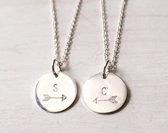 Best Friend Necklace Set, Personalized, Friendship Necklace for 2, 3 or more, Arrow Necklace, Best Friend Gift, Sterling Silver