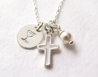 First Communion Gift, Communion Necklace, For Girl, Cross, Communion Chalice, Religious Necklace, Catholic Jewelry, Dainty, Sterling Silver