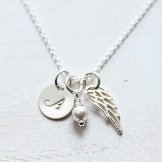 Première Communion Cadeau Cadeau De Confirmation Pour Fille Aile Dange Collier Cadeau Pour Filleule Argent Sterling Collier De Souvenir