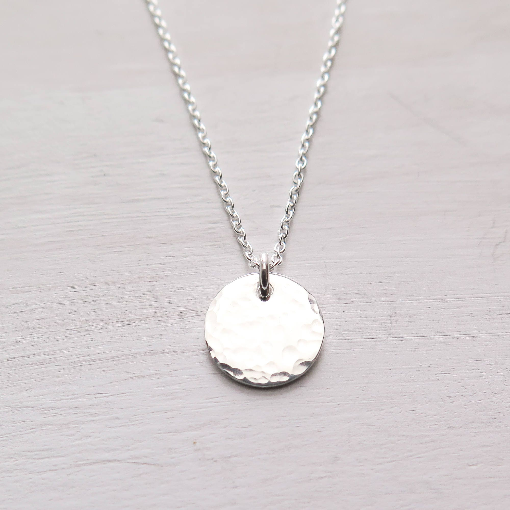 6b4692d7ca74ea Hammered Disc Necklace, Tiny Disc, Minimalist Necklace, Dainty, Layering  Jewelry, Gift for Her, Gift for Friend, Sterling Silver
