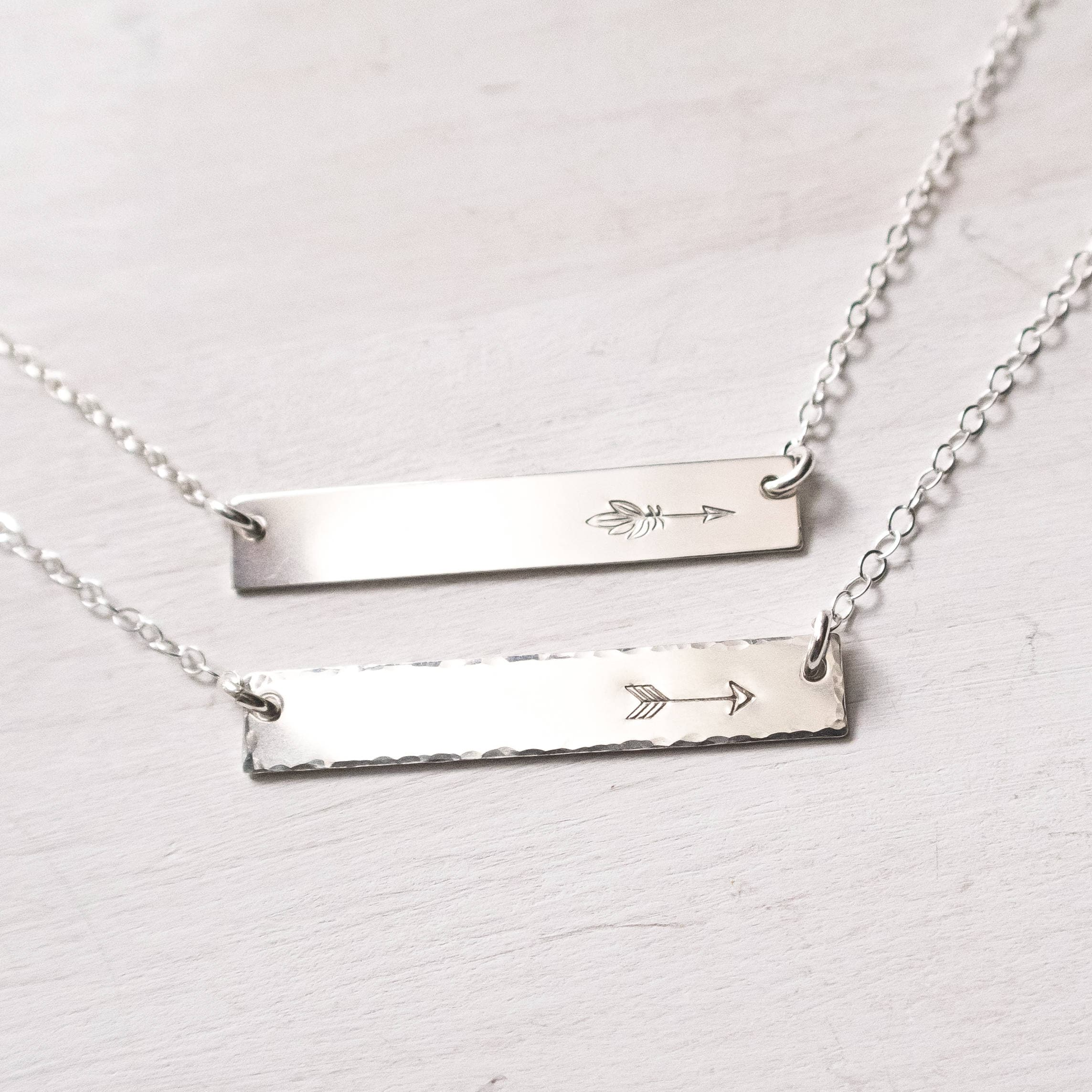 Gold or Silver Hammered Horizontal Arrow Bar Necklace  Cable Chain
