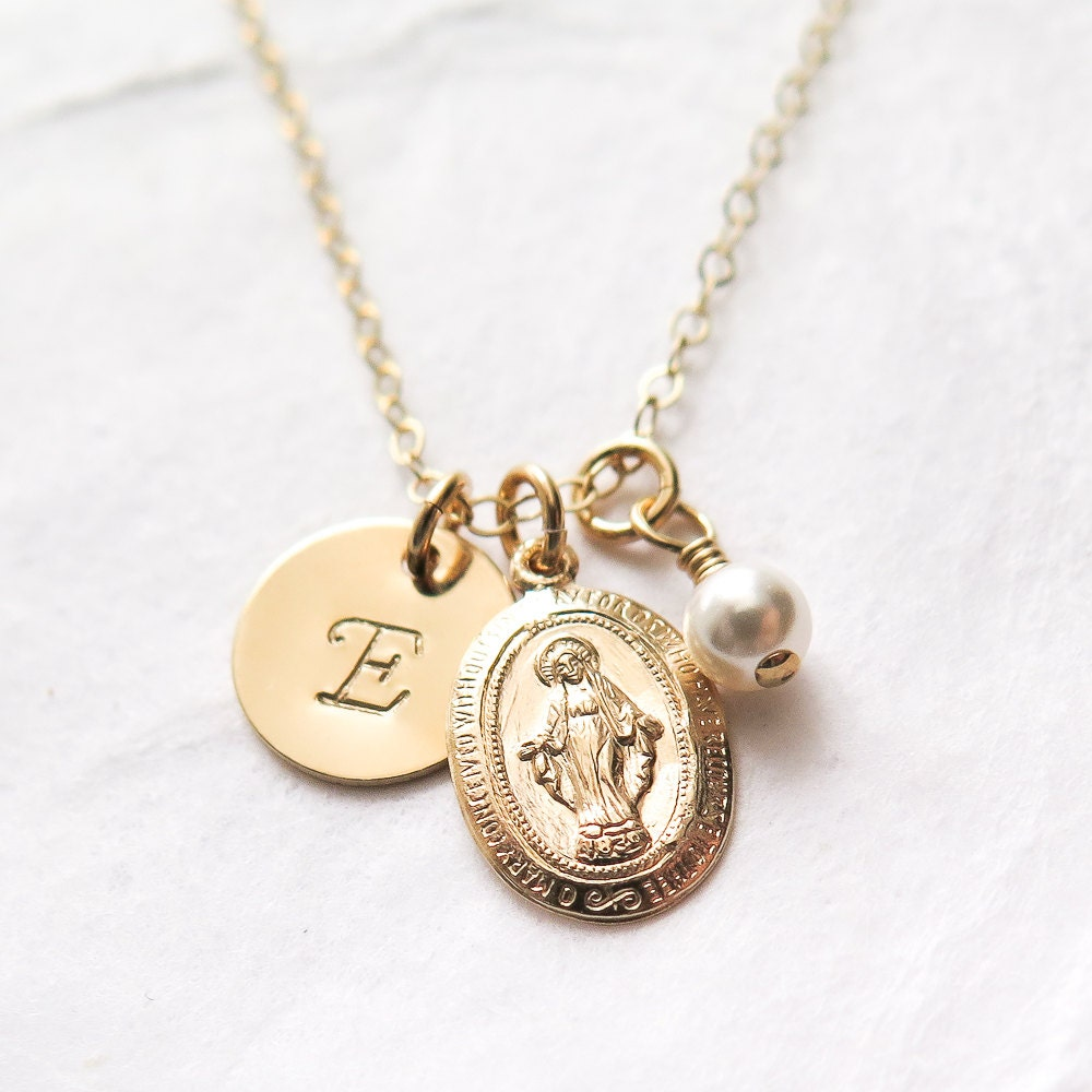 Personalized Cross and Miraculous Medal Necklace Gold Filled First Communion Gift for Girl Virgin Mary Necklace Religious Jewelry