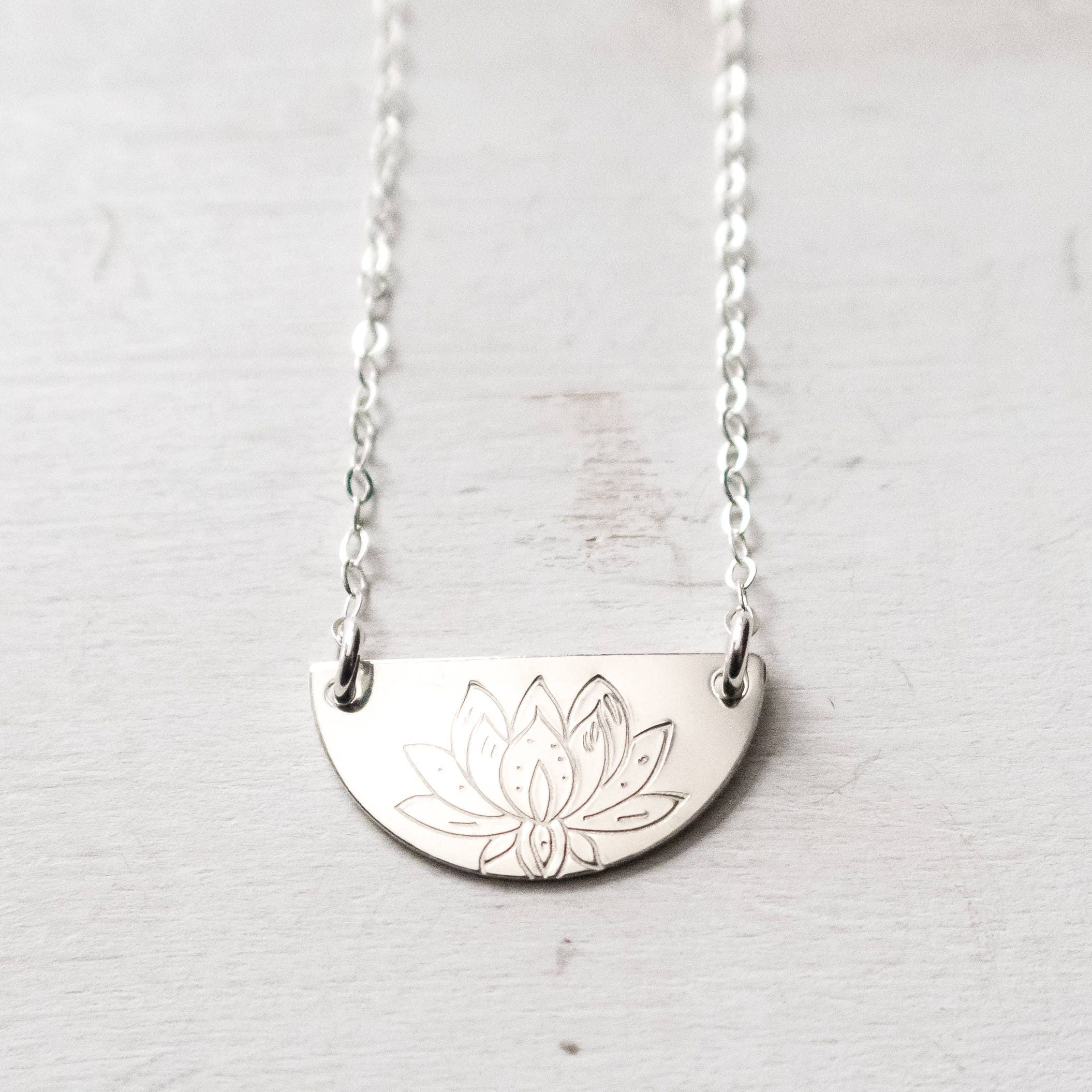 Half moon necklace half circle necklace silver lotus necklace half moon necklace half circle necklace silver lotus necklace modern boho layering necklace lotus flower gift for her sterling silver izmirmasajfo