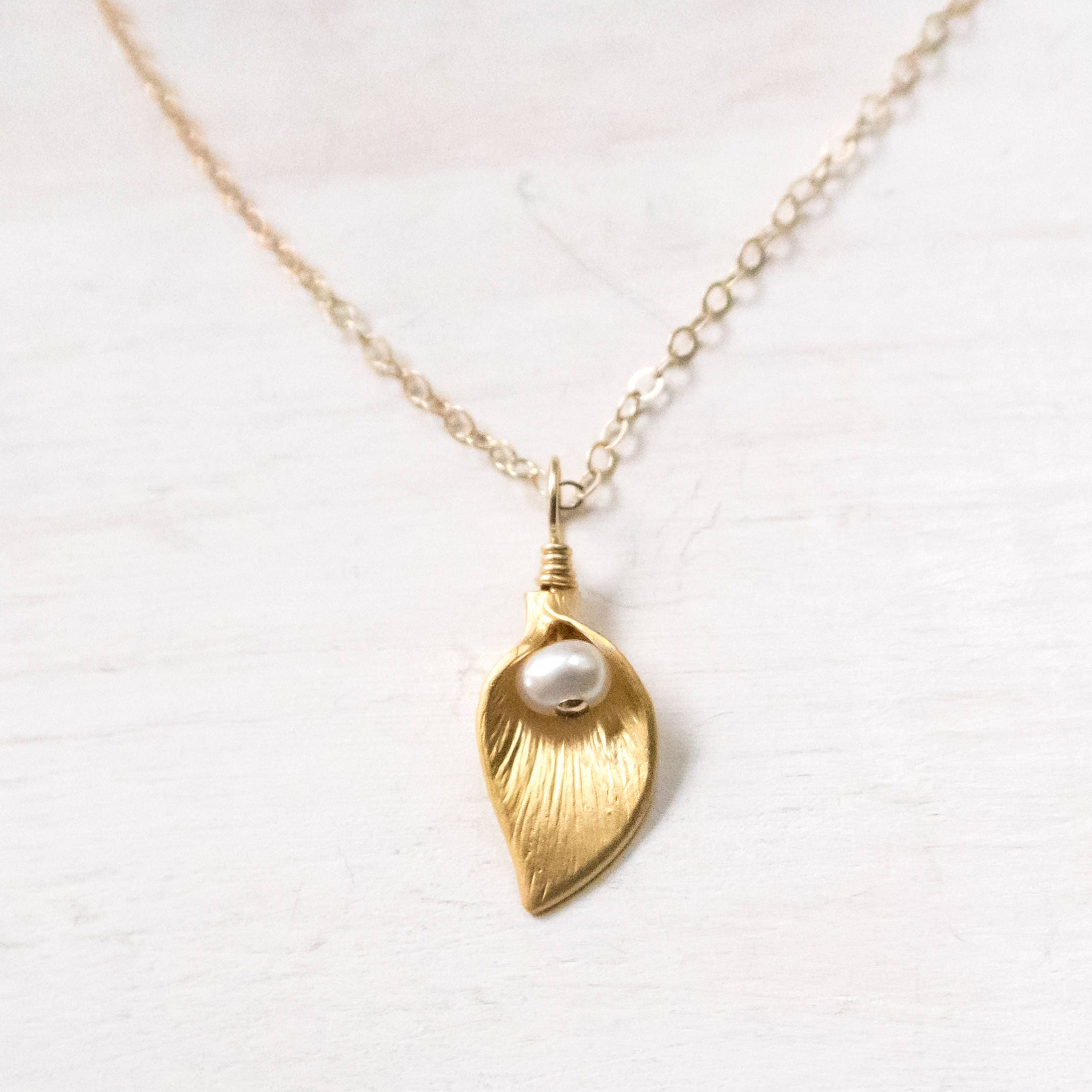Gold Calla Lily Necklace Tiny Calla Lily Jewelry