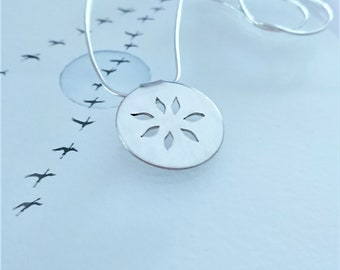 """SAc25* """" Love petals"""" - silver coin for love , necklace of Sterling Silver, handmade  925 in silver chain"""