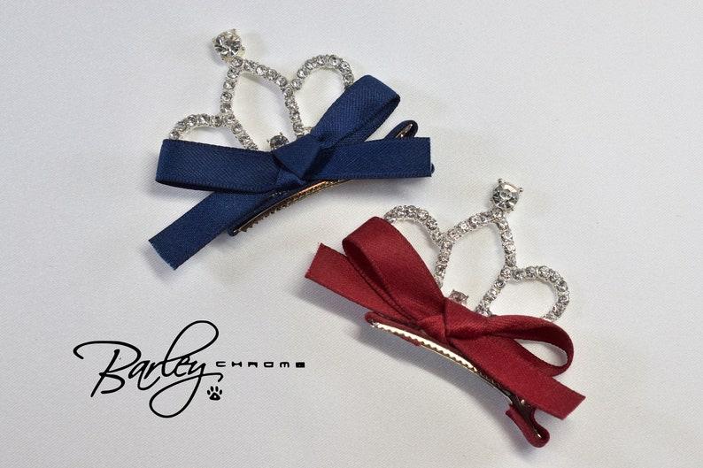 Navy or Burgundy Rhinestone /& Ribbon Tiara Pet Hair Clips
