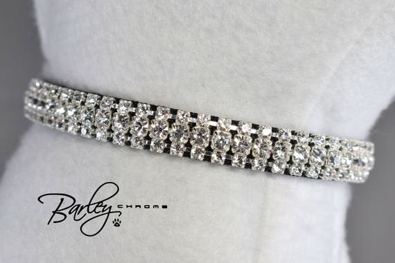 "3 Row Crystal 3//8/"" Wide Black Petite Elegance Rhinestone Cat Safety Collar"