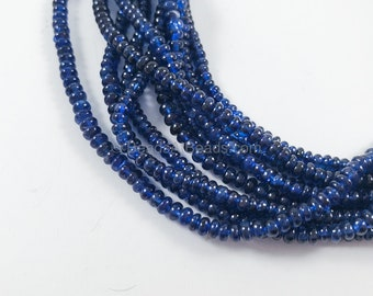 Natural Blue Sapphire Smooth Rondelle Beads , 4-6mm 16 Inches Strand