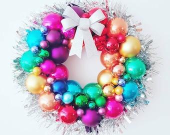bauble wreath rainbow bauble wreath christmas wreath rainbow wreath christmas decor christmas decoration xmas wreath festive decor