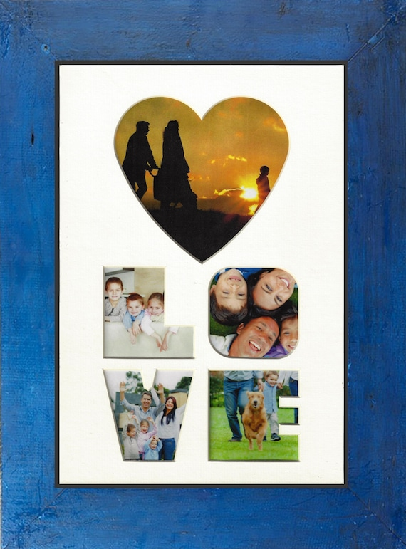 Valentine Love Photo Mat with Blue rustic farm house frame for Wedding, Anniversary, new home, family, Mother's Day and Christmas