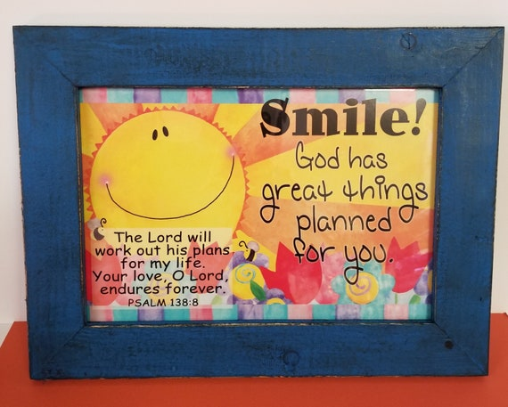 Smile God has great things planned for you verse Inspirational Bible Quote ~ Motivational Scripture ~ Rustic Framed Christian Artwork