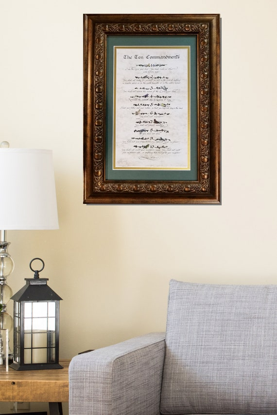 The Ten Commandments framed calligraphy print with birds with FREE jeweled cross