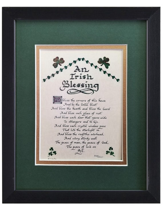 """Irish Blessing Gift God Bless the corners of this house a lintel blessed with option to personalize 8"""" X10"""" verse for desktop or shelf"""