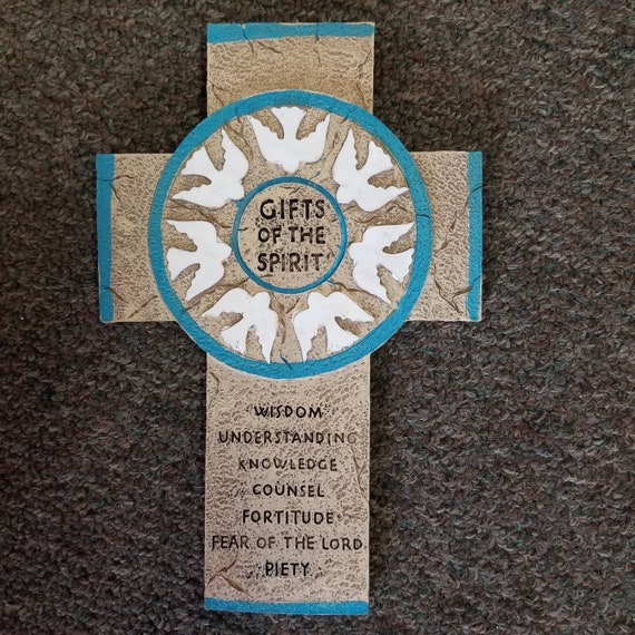Gifts of the Spirit with doves Confirmation Stone Resin Wall Cross religious gift