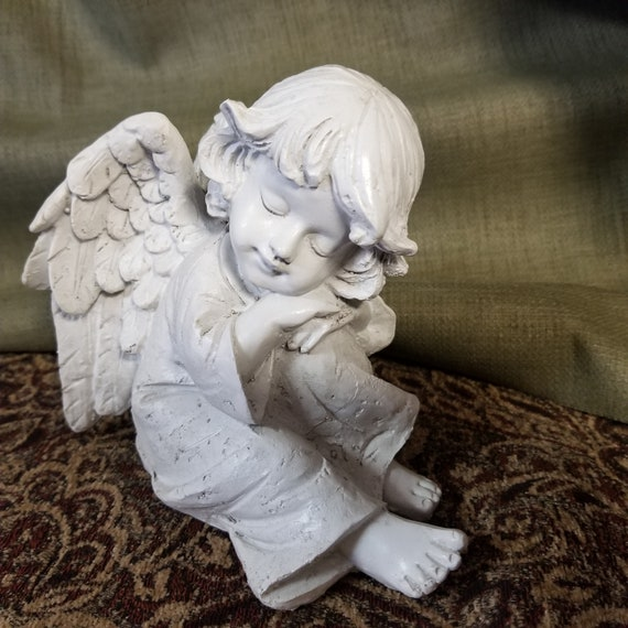 "Angel cherub sitting white resin 5.75"" for counter, shelf, Christmas, and gift giving"