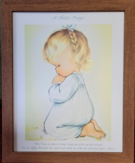 A Childs Prayer Vintage  print Now I lay me down to sleep prayer with little girl kneeling