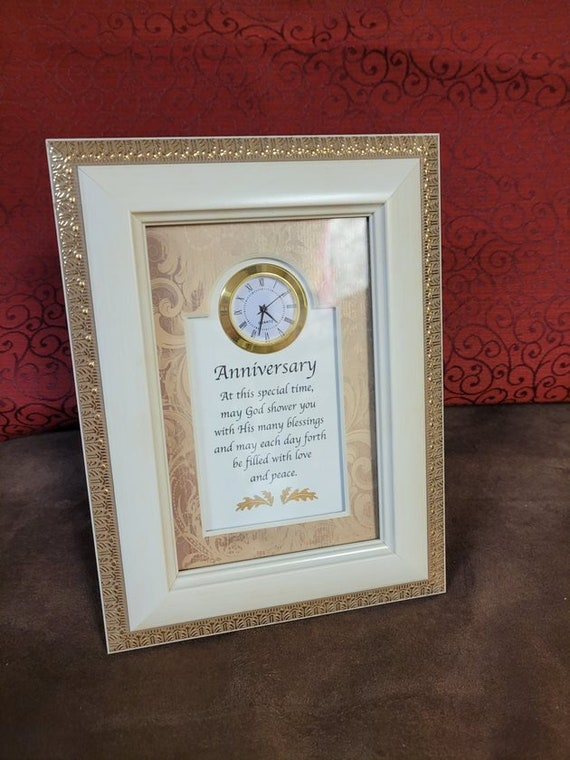 Anniversary plaque with clock easel backed picture for desk, shelf, end table or niche