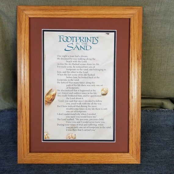 Footprints in the Sand framed and matted  poster art with Free Footprints in the Sand coffee mug