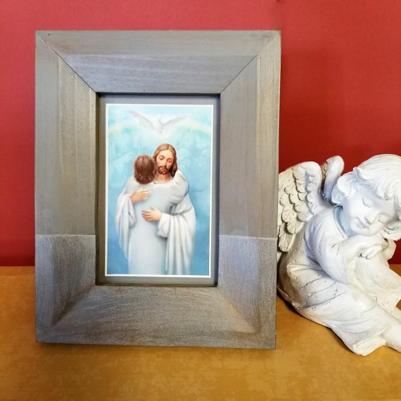Reunion Homecoming embrace from Jesus framed picture for deceased child, teen or adult for Sympathy, Memorial or recovery gift