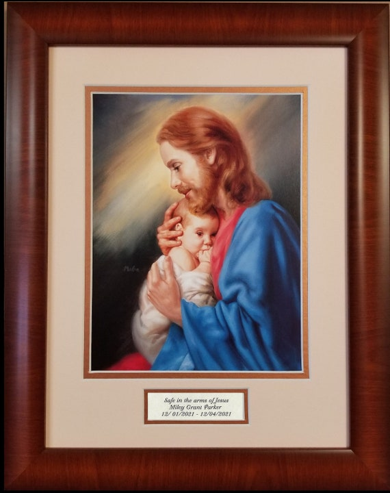 Safe in the arms of Jesus Sympathy memorial baby picture with scripture verse matted and framed and option to personalize with name and date