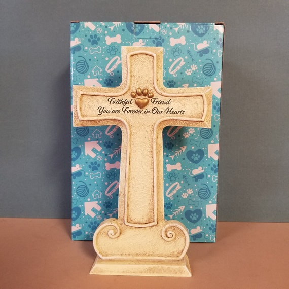 Pet memorial Cross sympathy Gift furry friend resin stand up cross