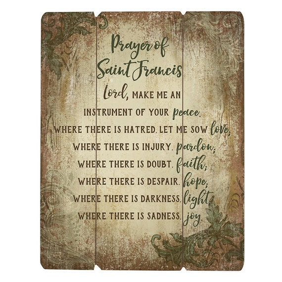 Prayer of Saint Francis Instrument of peace Pallet sign picture for home and gift giving