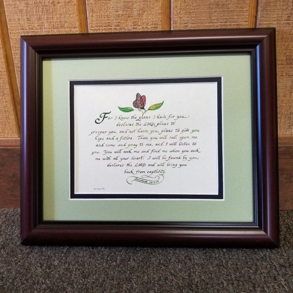 Jeremiah 29 11 Scripture verse in calligraphy framed and matted wall décor and Christian Scripture gift Jeremiah 29 verse 11