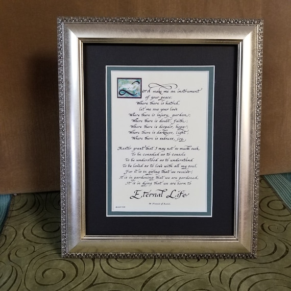 St. Francis Make me an instrument of your piece table top verse framed and matted Inspirational Christian quote